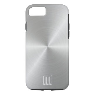 Silver Steel Metal Look Monogram iPhone Case