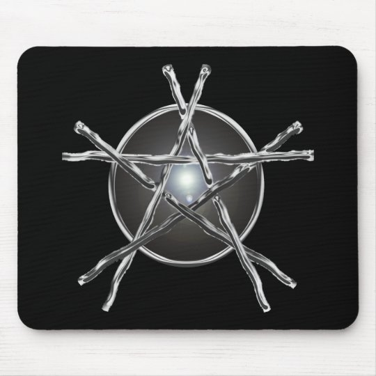 Silver Sticks Pentagram Mousepad