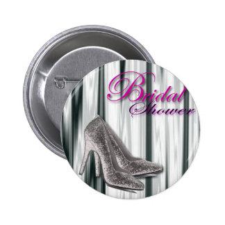 Silver Stilleto Modern Bridal Shower 2 Inch Round Button