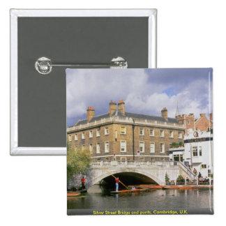 Silver Street Bridge and punts Cambridge U K Buttons