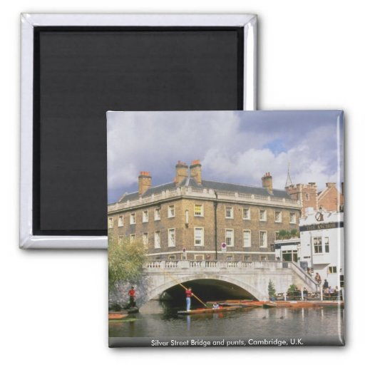 Silver Street Bridge and punts, Cambridge, U.K. Refrigerator Magnets