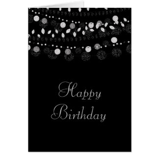 Silver Strings of Lights on Black Birthday Card