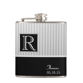 Silver Stripe Monogram Hip Flask