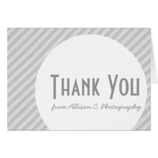 Silver Striped Art Deco Business Thank You Note Card
