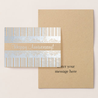 Silver Stripes and Lacy Curls Foil Card