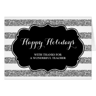 Silver Stripes Teacher Christmas Card