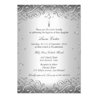 "Silver Swirl & Cross Baptism/Christening 5"" X 7"" Invitation Card"