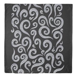Silver Swirls Pattern Duvet Cover