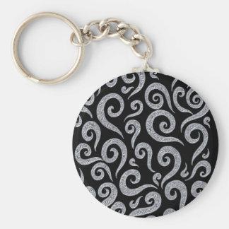 Silver Swirls Pattern Keychain