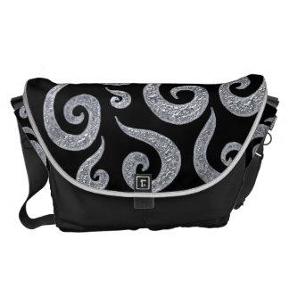 Silver Swirls Pattern Messenger Bags