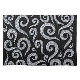 Silver Swirls Pattern Placemat
