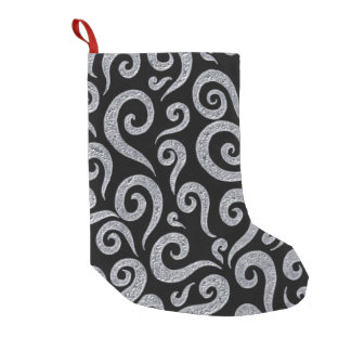 Silver Swirls Pattern Small Christmas Stocking