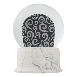 Silver Swirls Pattern Snow Globe
