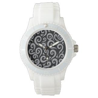 Silver Swirls Pattern Watch