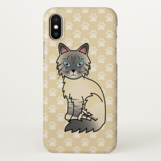 Silver Tabby Birman / Ragdoll Cat Cartoon Drawing iPhone X Case