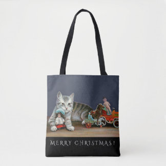Silver Tabby Cat and Victorian Toys Christmas Tote
