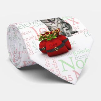 Silver Tabby Cat Christmas Word Art Tie