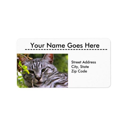 Silver Tabby Cat Head Address Labels