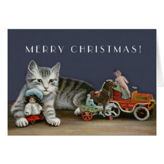 Silver Tabby Cat  - Vintage Christmas Cat Art Card