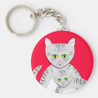 Silver Tabby Mother Cat and Kitten Keychain