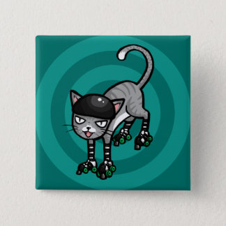 Silver Tabby on RollerSkates 2 Inch Square Button