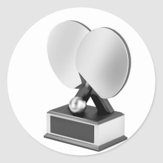 Silver table tennis trophy classic round sticker