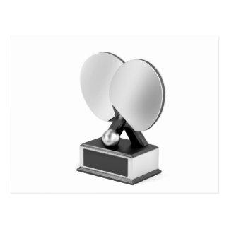 Silver table tennis trophy postcard