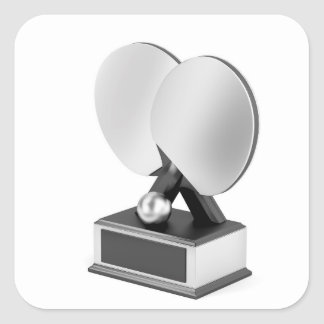Silver table tennis trophy square sticker