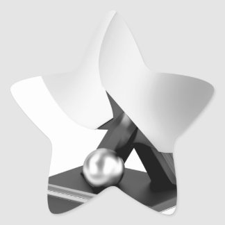 Silver table tennis trophy star sticker