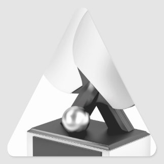 Silver table tennis trophy triangle sticker