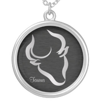 Silver Taurus Zodiac Symbol Silver Plated Necklace