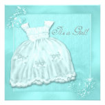 Silver & Teal Blue Dress Baby Shower Invitations