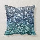 Silver Teal Blue Glitter Look Throw Pillow