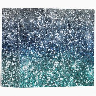 Silver Teal Blue Glitter Look Vinyl Binder