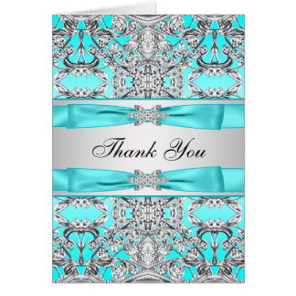 Silver & Teal Blue Silver Thank You Cards