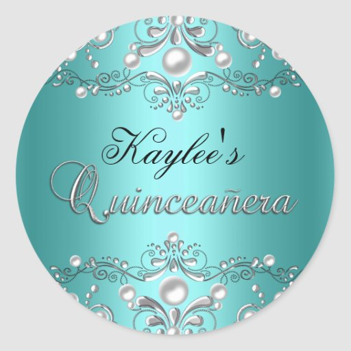 Silver & Teal Damask Pearl Quinceanera Sticker