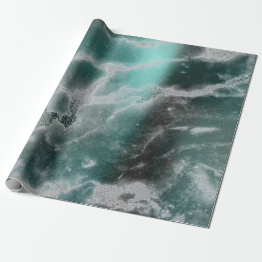 Silver Teal Grungy Grey Marble Stone Brushes Wrapping Paper