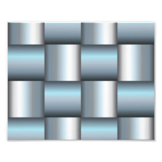 Silver & Teal Metallic Square Collage Art Photo