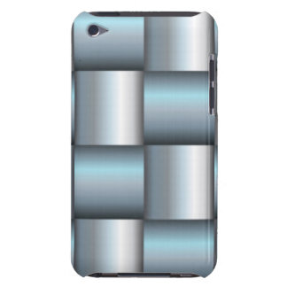 Silver & Teal Metallic Square Collage Barely There iPod Case