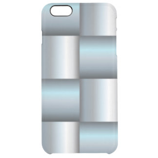 Silver & Teal Metallic Square Collage Clear iPhone 6 Plus Case