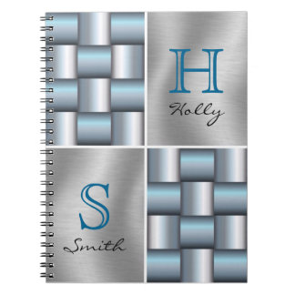 Silver & Teal Metallic Square Collage Monogram Notebooks