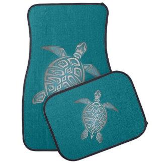 Silver Teal Sea Turtle Car Mat
