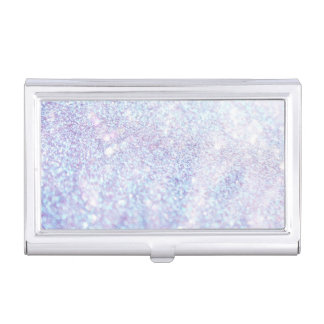 Silver Texture Glitter Case For Business Cards