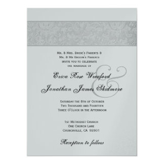 """Silver Textured Damask and Silver Metallic 6.5"""" X 8.75"""" Invitation Card"""