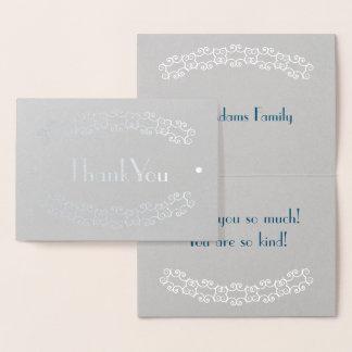 Silver Thank You Scroll Foil Card