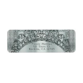 Silver Tiara Crown & Diamond Bling Invitation Return Address Label