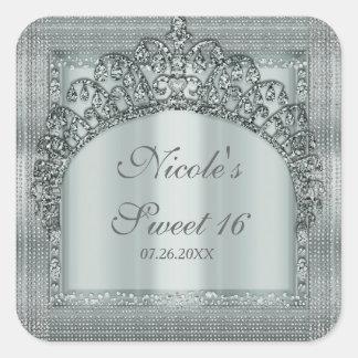 Silver Tiara Crown & Diamond Bling Party Favor Square Sticker