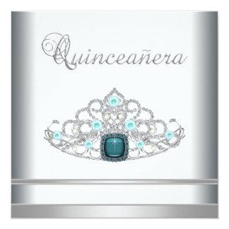 "Silver Tiara Teal Blue Quinceanera 5.25"" Square Invitation Card"