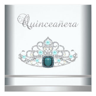 Silver Tiara Teal Blue Quinceanera Card