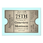 Silver Ticket Style 75th Birthday Party Invite